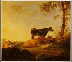 Landschap met rustend vee
