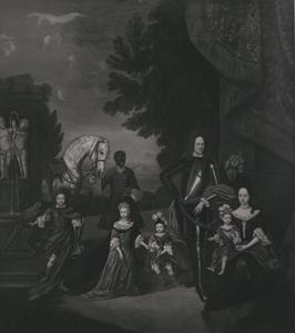 Portret van de familie van Adolf Werner van Pallandt (1656-1706) en Agnes Amalia van Pallandt (1663-1740), met een bediende