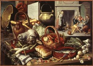 Keukenstilleven met in de achtergrond Christus en de Emmaüsgangers