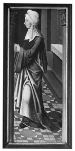 Staande vrouwenfiguur, mogelijk de H. Elisabeth of een figuur uit een bijbelse voorstelling