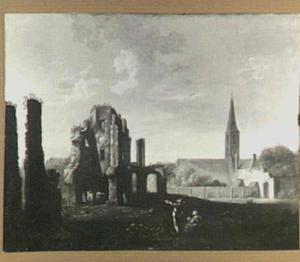 De ruïne van de abdij te Rijnsburg vanuit het noorden