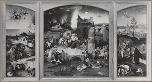 De bekoring van de H. Antonius (in geopende toestand); De gevangenneming van Christus (buitenzijde linkerluik), De kruisdraging (buitenzijde rechterluik)