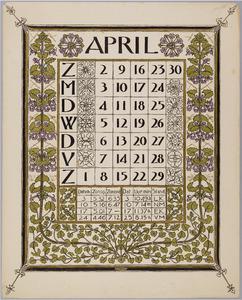 Kalenderblad voor april 1899
