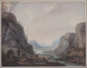 Berglandschap met de Transfiguratie op de berg Tabor (Mattheus 17:1-13)