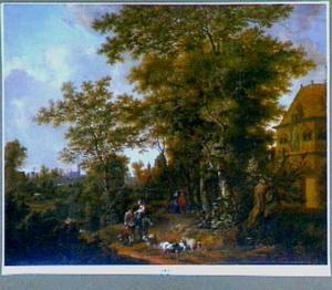 Hollands landschap met landhuis tussen bomen; op de voorgrond een vrouw te paard in gesprek met een herder