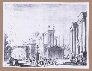 Stadsgezicht met klassieke gebouwen en figuren