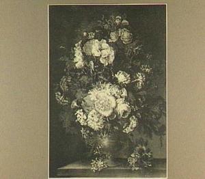 Bloemstilleven met rozen en anjers