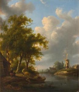 Landschap met molen en boerderij