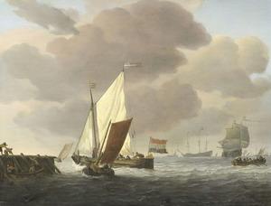 Kaag, weyschuit en andere vaartuigen voor een aanlegsteiger bij een frisse bries