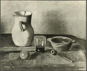 Stilleven met kan, glas en pijp
