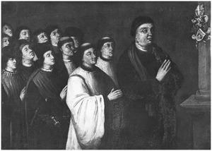 Portret van Jacob Tielmansz. Oem (....-1485) en zijn twaalf zoons