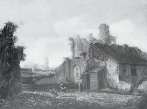 Italianiserend landschap met ruïnes (motieven van de ruïne van kasteel Brederode vanuit het westen)