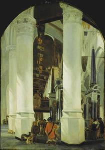 Interieur van de Nieuwe Kerk te Delft met het praalgraf van Prins Willem de Zwijger