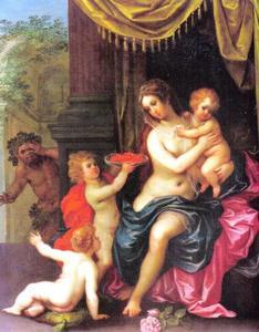 Een vrouw met drie kinderen bespied door een sater: allegorie op de Moederliefde