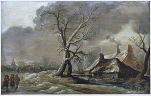 Winterlandschap met boerderijen aan een sloot