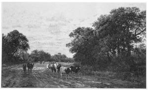 Herderin met kudde koeien