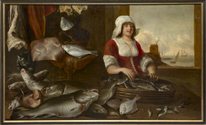 Visstilleven met visverkoopster en kat