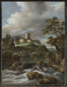 Berglandschap met waterval; op de bergtop links kasteel Bentheim