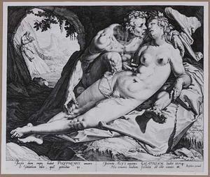 Acis en Galatea als minnaars, terwijl Polyfemus op de panfuit speelt (Ovidius, Metamorfosen)