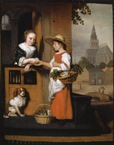 Een jonge vrouw verkoopt groenten aan de deur