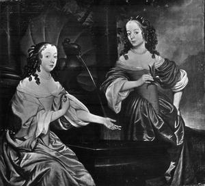Dubbelportret van Albertine Agnes (1634-1696) en Henriette Catharina (1637-1708) van Oranje-Nassau