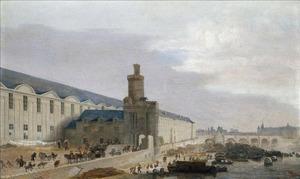 Gezicht op Parijs met de Grande Galerie du Louvre, de Tour de Bois en de Pont-Neuf