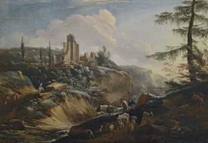 Landschap met herders en ruïnes