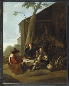 Etende en drinkende boeren voor een huis