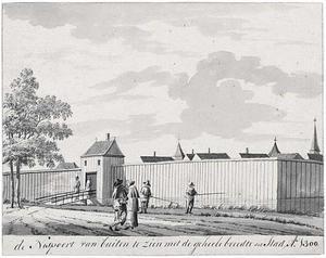 Fantasiegezicht op de Amsterdamse Nespoort in ca. 1300