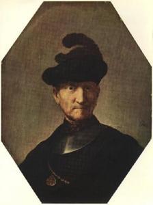 Borststuk van een oude man met halsberg en geverderde baret