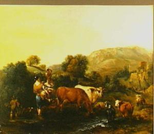 Zuidelijk landschap met door een rivier wadende herderinnen en hun dieren