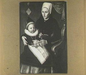 Portret van een moeder met haar kind, waarschijnlijk een jongen