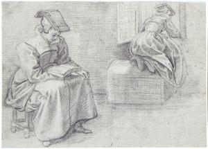 Zittend lezend meisje en een meisje dat door het open raam naar buiten kijkt