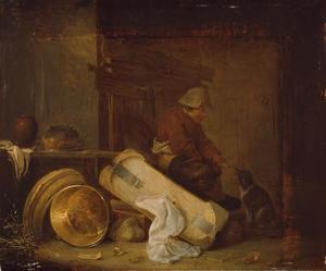 Boer voert hond in een interieur
