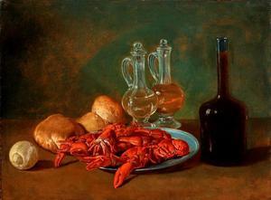 Stilleven met garnalen, brood en een fles wijn