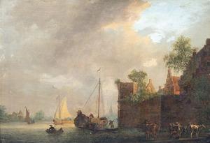Rivierlandschap met met schepen en een gezicht op stadsmuren