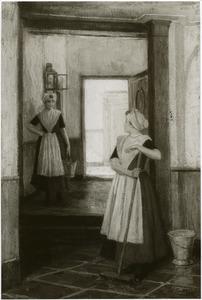 Twee weesmeisjes schrobben de gang