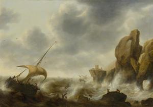 Schipbreuk in een storm voor een rotsachtige kust