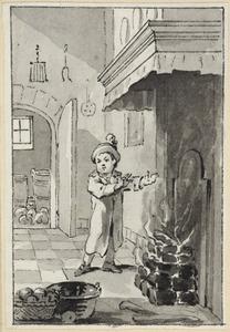 Illustratie voor 'Winterzang' in de Kleine gedichten voor kinderen door H. van Alphen