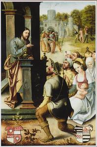 Christus als leraar; op de achtergrond de gevangenneming en de geseling