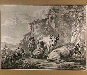 Landschap met melkende boerin en herdersjongen bij een ruïne