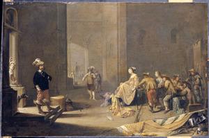Soldaten met buit en prostituées in een wachtlokaal