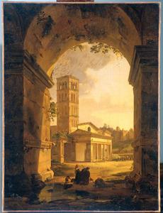 De kerk van San Giorgio in Velabro, gezien door de boog van de Argentarii, te Rome