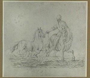 Ruiter met twee paarden in het water