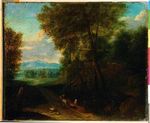 Een ruider geeeft aalmoes in een boslandschap