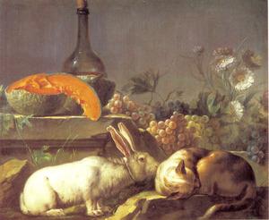 Stilleven met konijn, kat en fruit