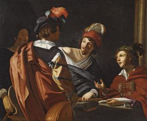 Vier muzikanten in conversatie rond een tafel