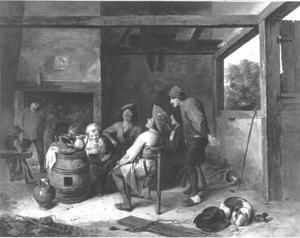Boeren en kinderen in een interieur van Adriaen Brouwer