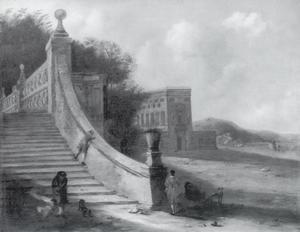 Kasteel met trap aan een meer