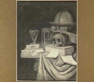 Vanitasstilleven met een schedel, globe, viool en rookgerei
